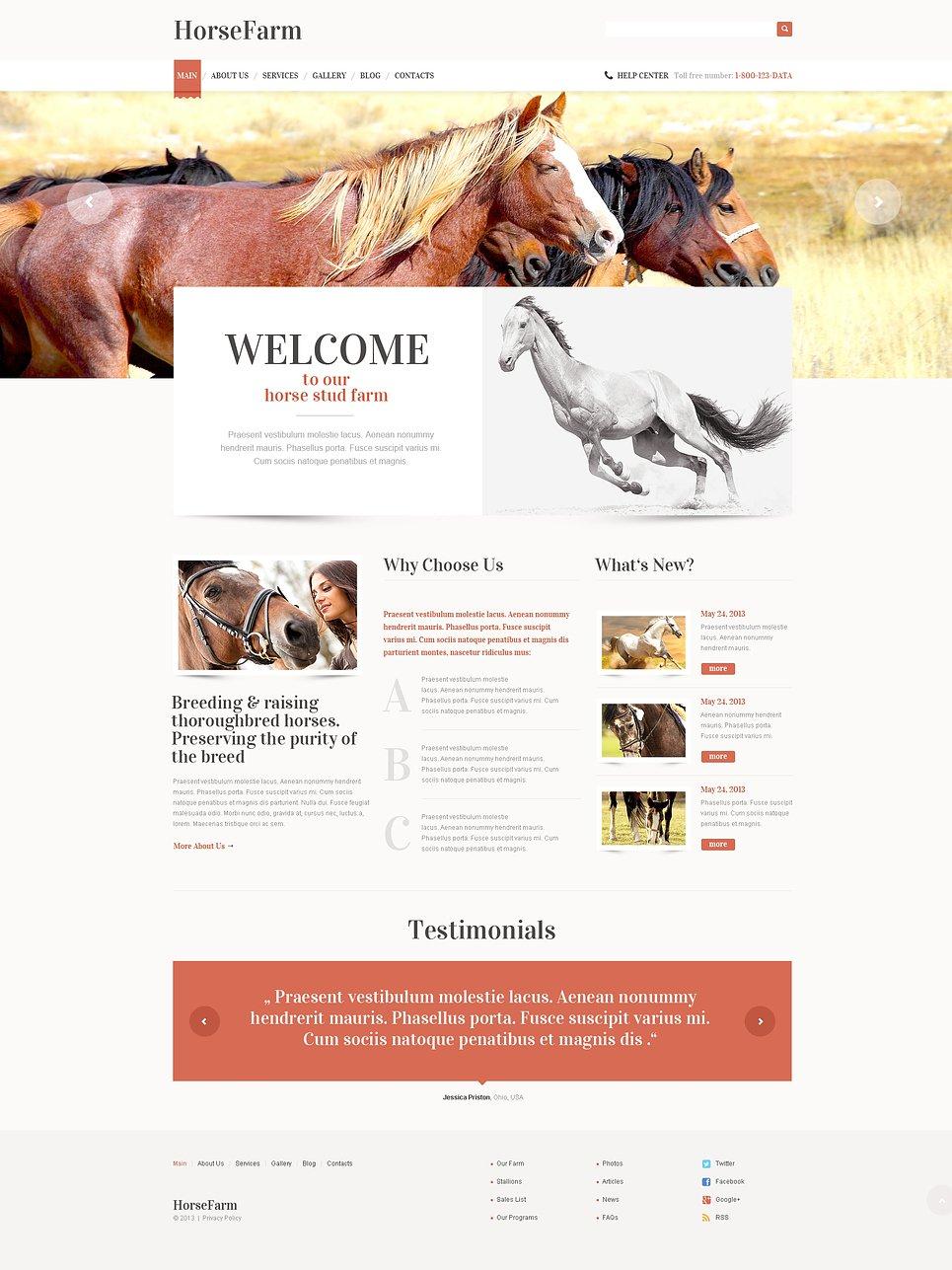 Адаптивный шаблон сайта на тему лошади #47403