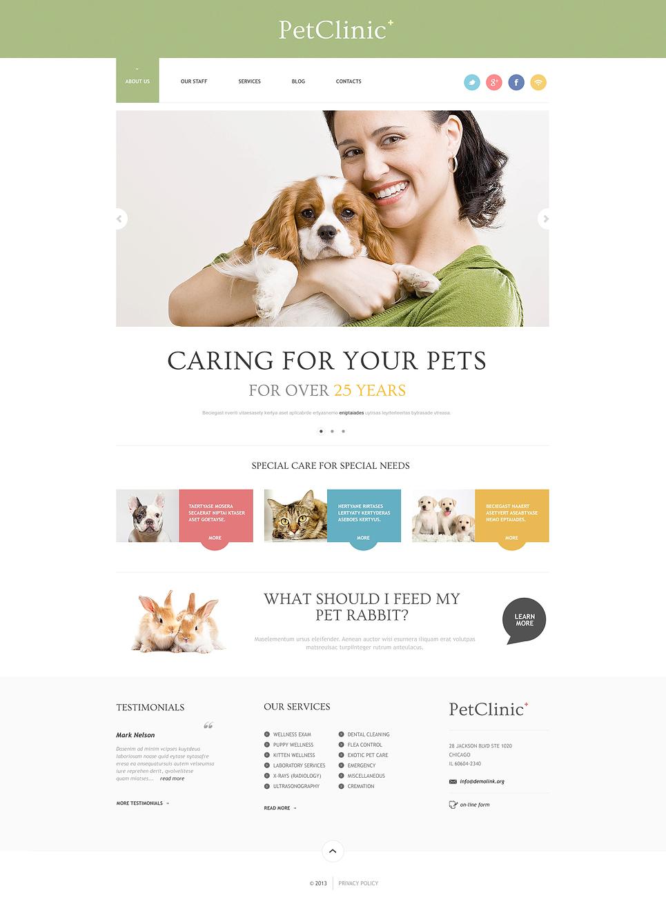 Адаптивный шаблон сайта на тему ветеринария #47407
