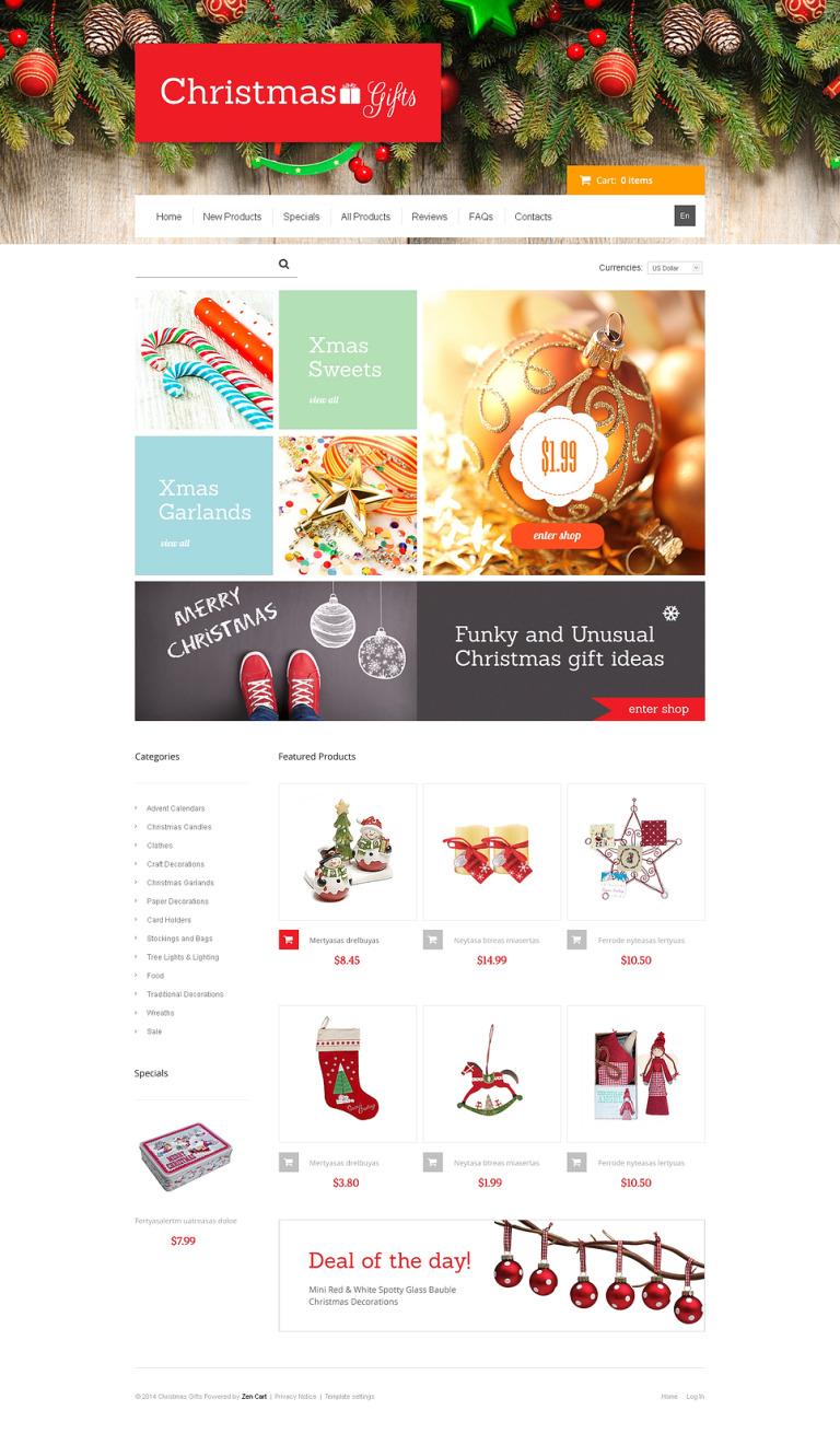 Christmas Gifts ZenCart Template New Screenshots BIG