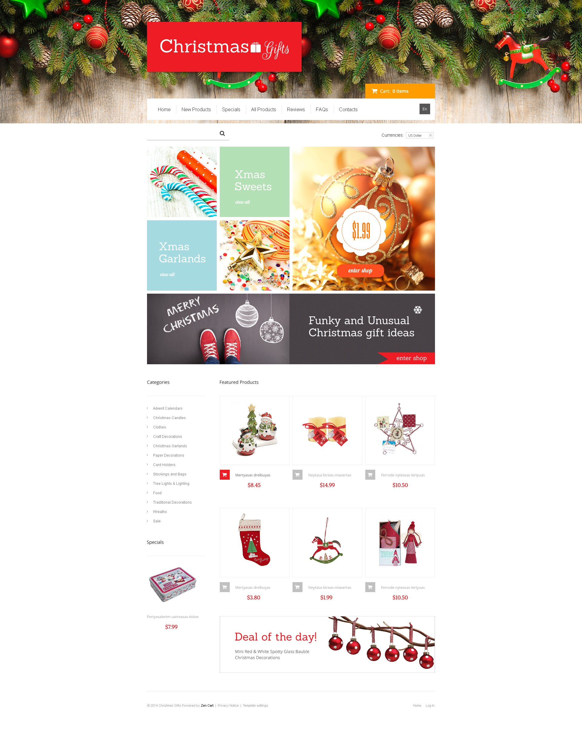 Christmas Gifts ZenCart Template - screenshot