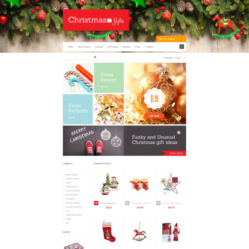 Christmas Gifts - HTML5 ZenCart Template