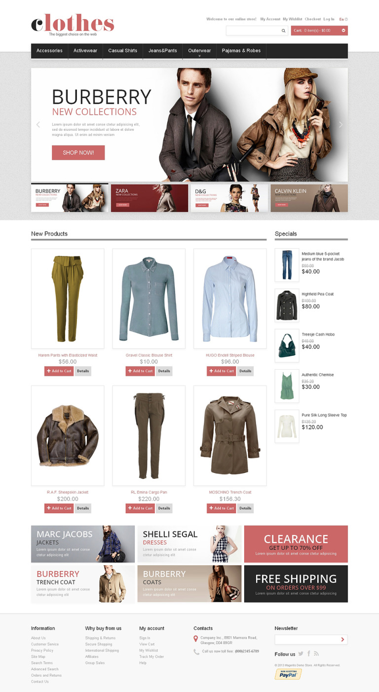 Clothes for Any Weather Magento Theme New Screenshots BIG