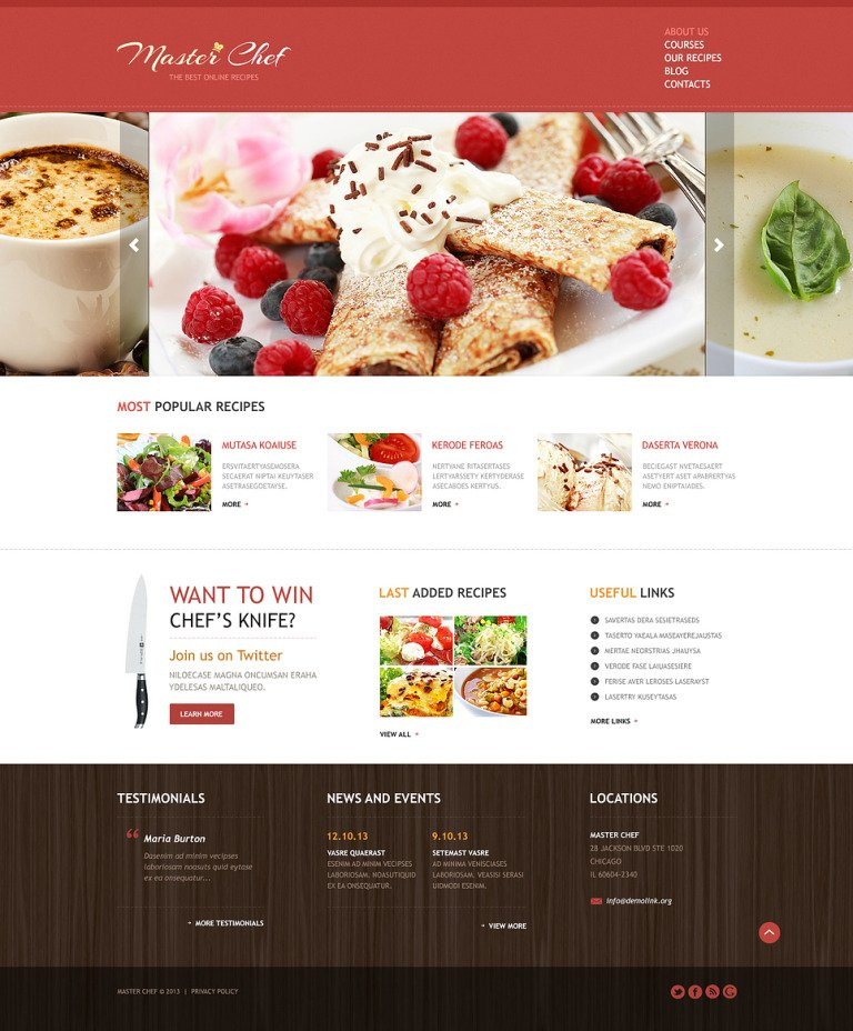 Cooking Responsive Joomla Template New Screenshots BIG