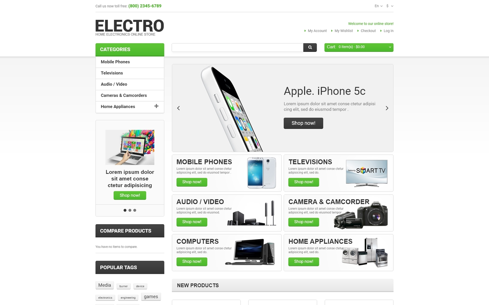 """""""Electro Appliances"""" Responsive Magento Thema №47480"""