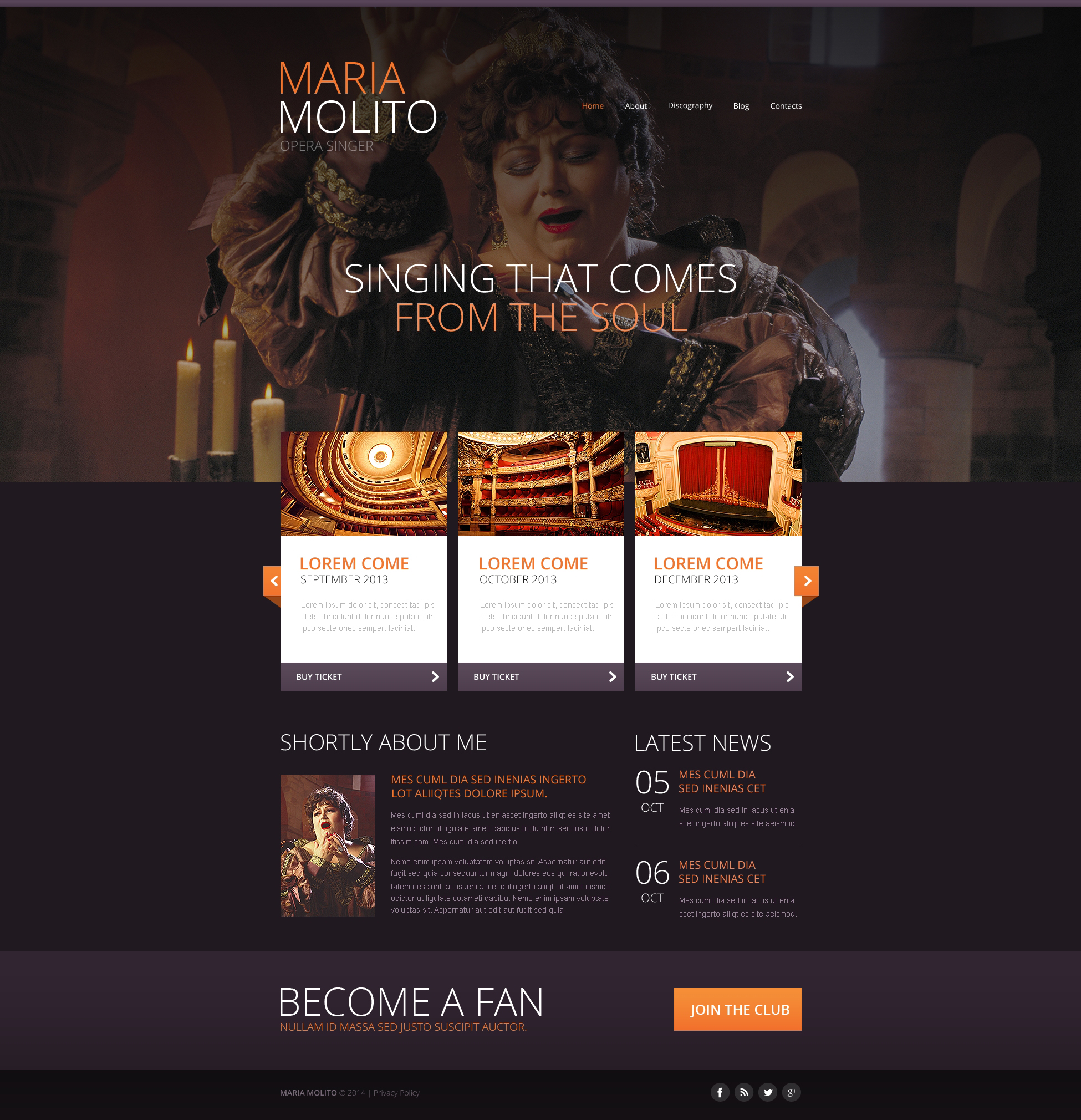 """Elegant Opera Singer"" Responsive Website template №47441 - screenshot"