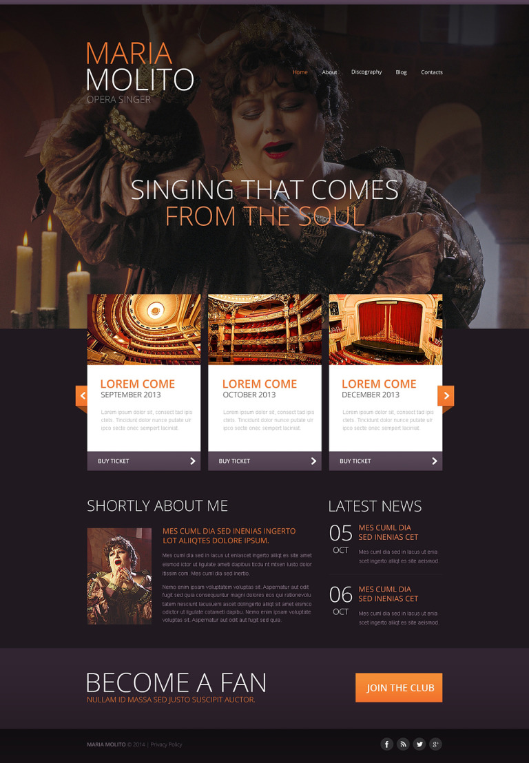 Elegant Opera Singer Website Template New Screenshots BIG