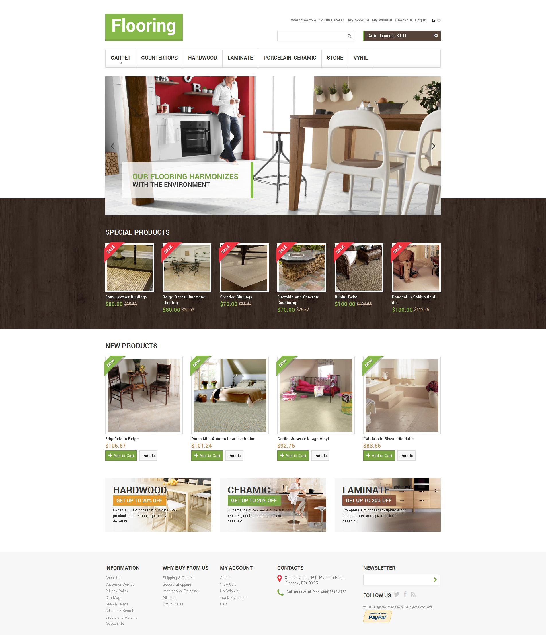 Flooring Store Magento Theme - screenshot