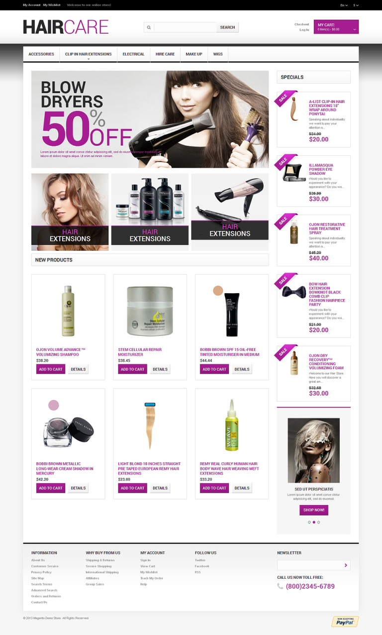 Hairdresser's Stuff Magento Theme New Screenshots BIG