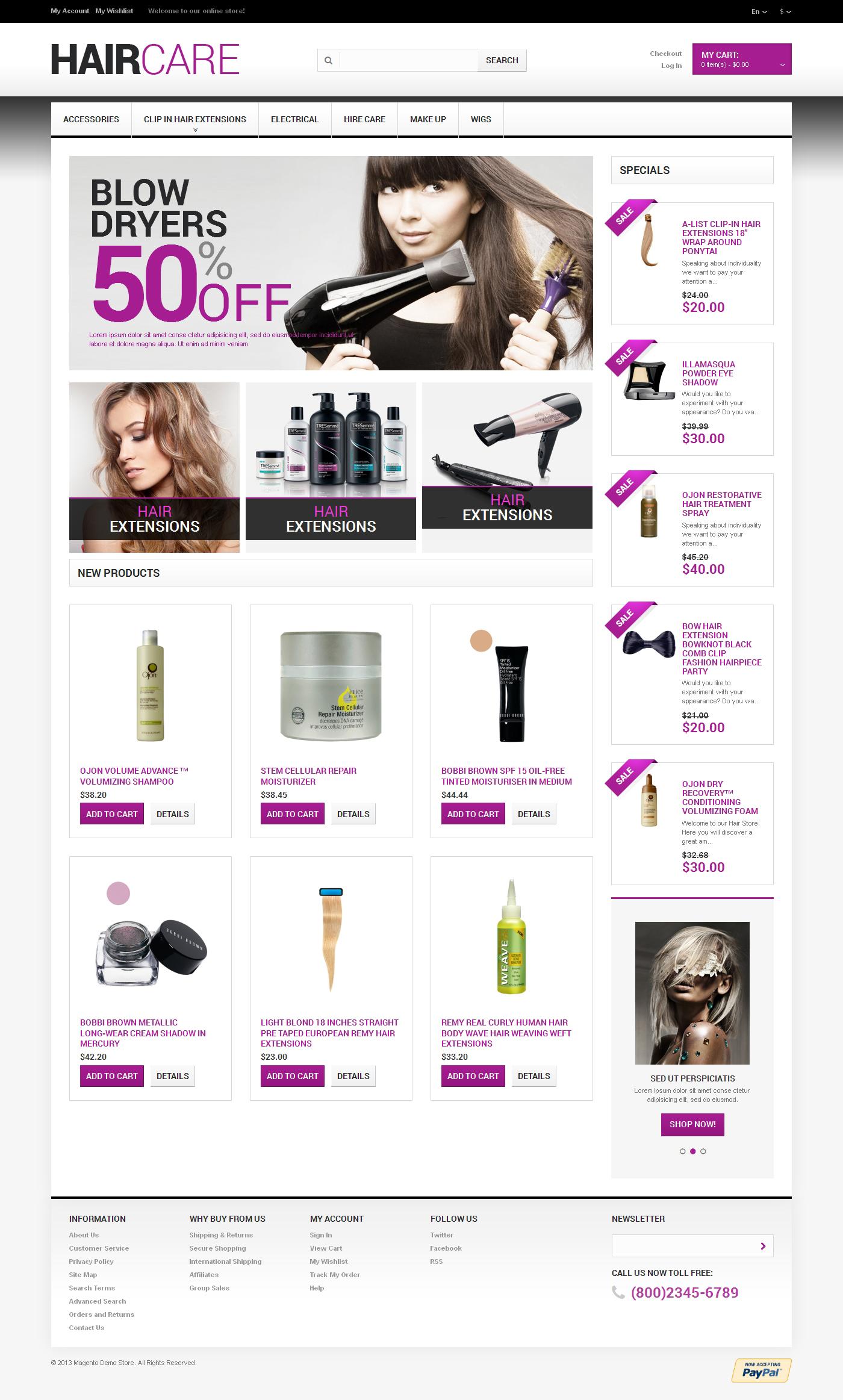 Hairdresser's Stuff Magento Theme - screenshot