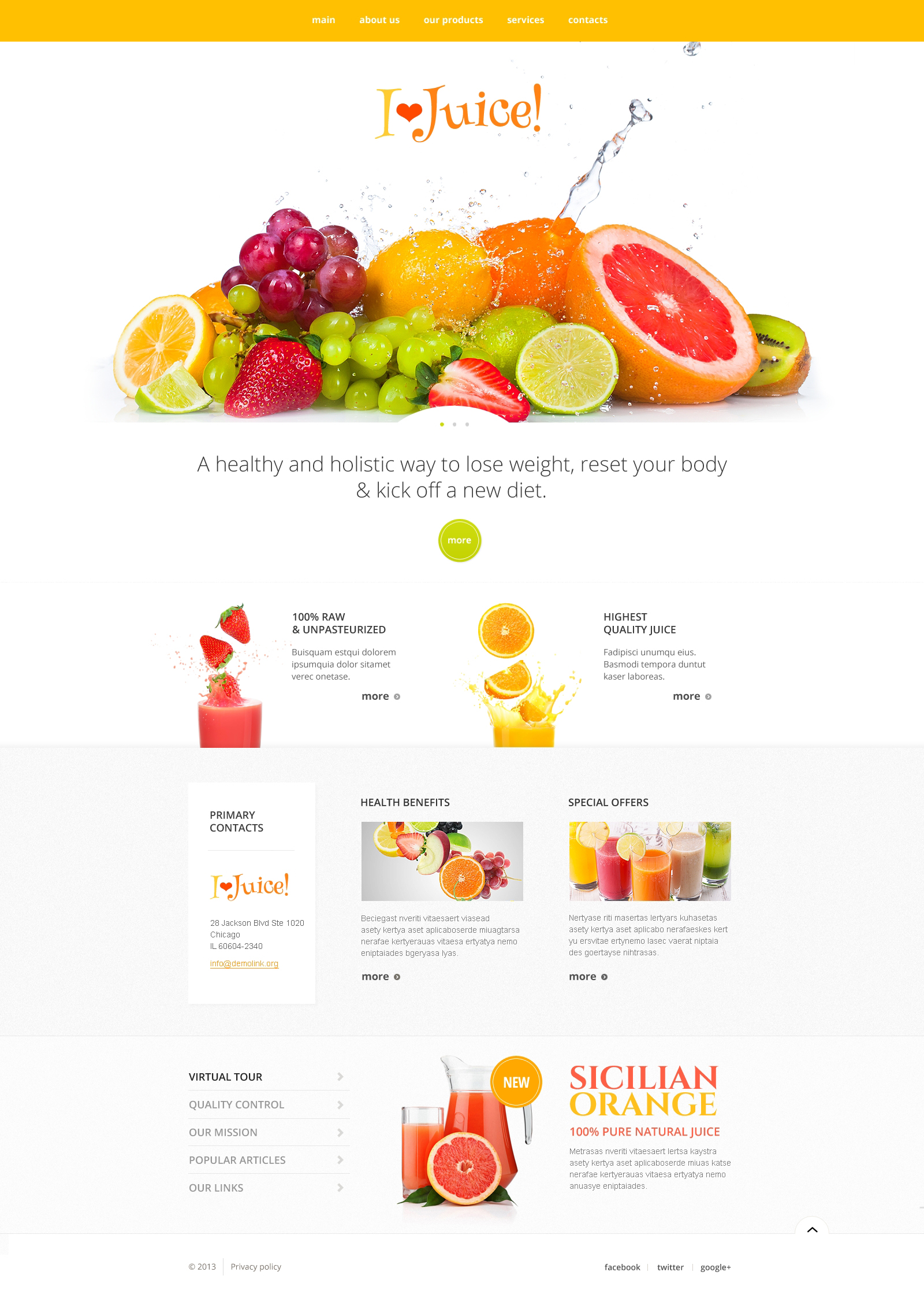 Healthy Juice Website Template #47422