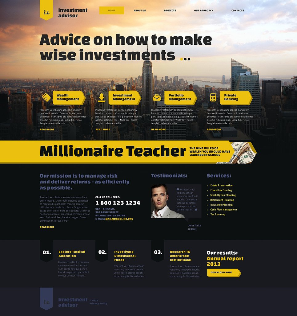investment company responsive website template 47483