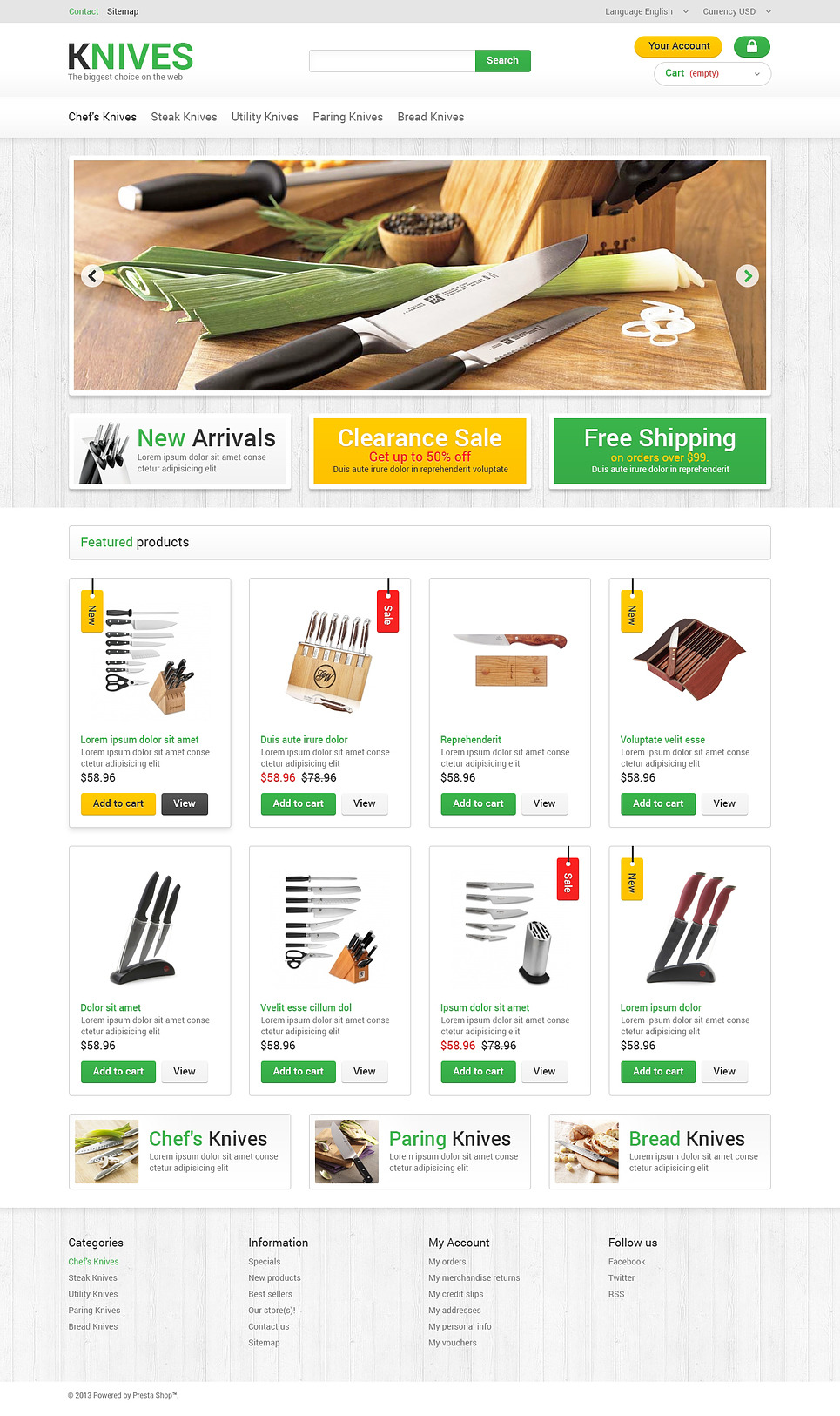 Kitchen Knives PrestaShop Theme New Screenshots BIG