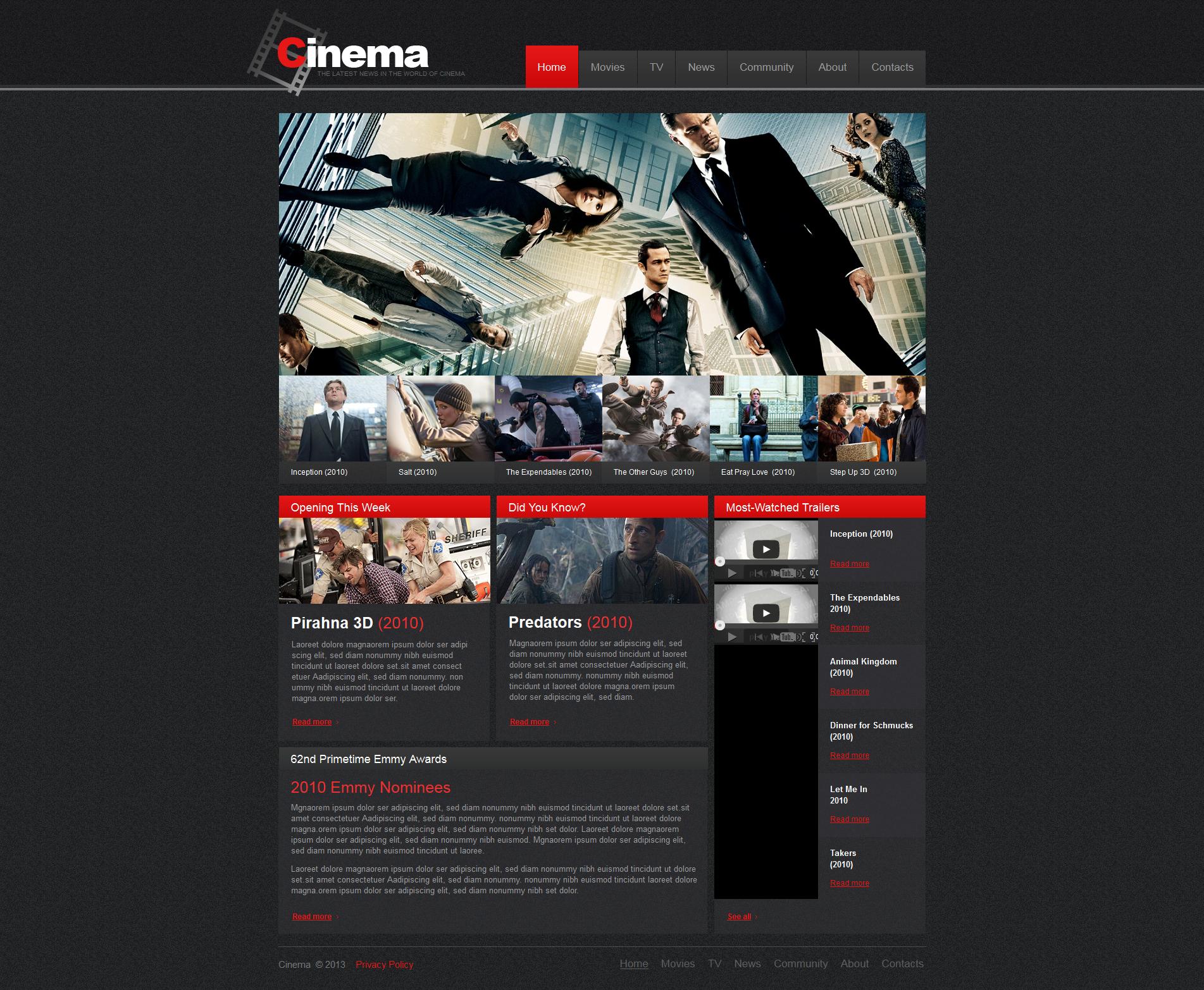 Luxusní Moto CMS HTML šablona na téma Kino #47469