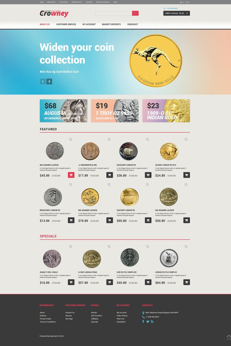 Numismatist OpenCart Template New Screenshots BIG