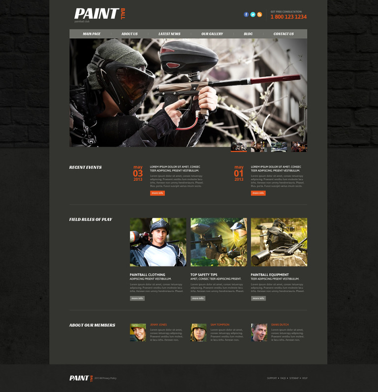 Paintball Responsive Joomla Template New Screenshots BIG