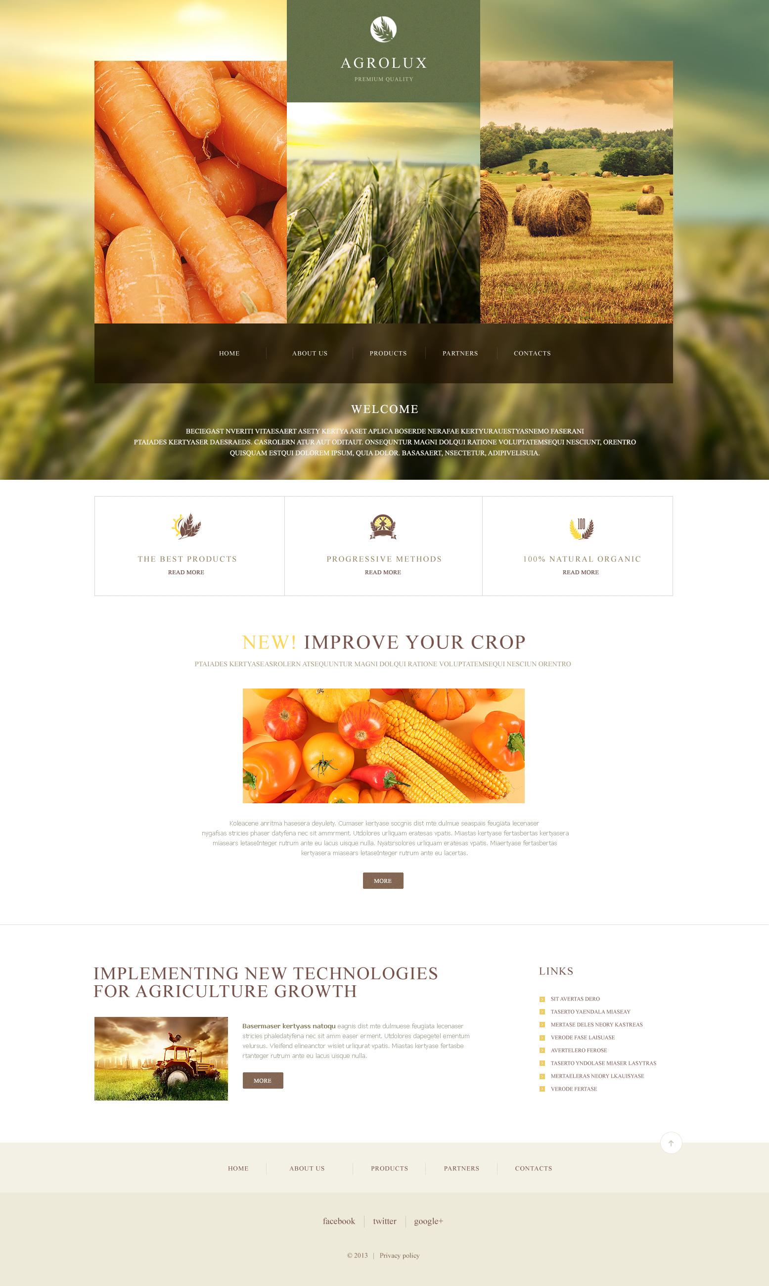 Responsywny szablon strony www #47428 na temat: gospodarstwo rolne - zrzut ekranu