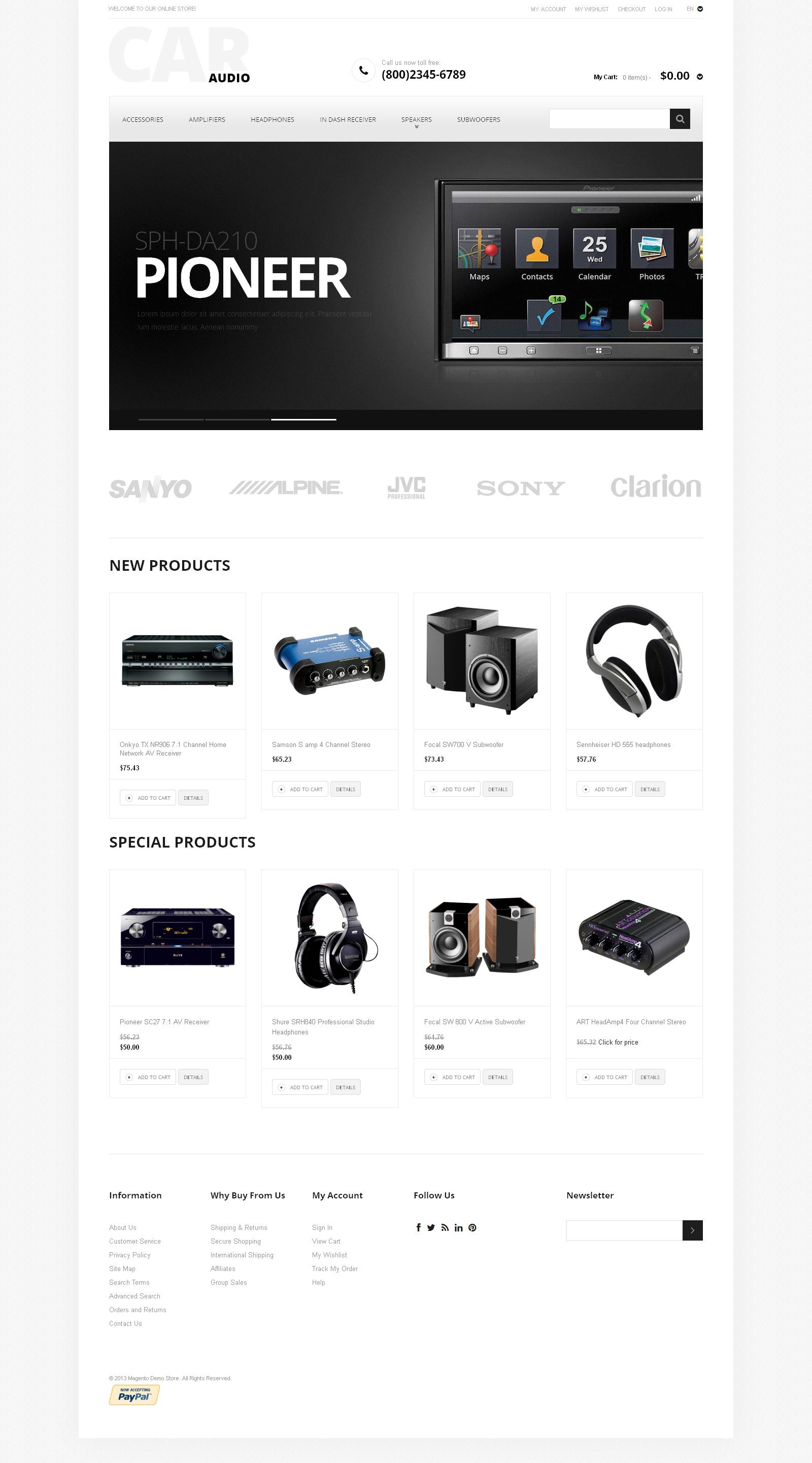 Reszponzív Car Audio Magento sablon 47456 - képernyőkép