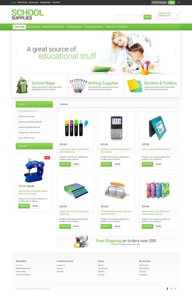 School Stationery OpenCart Template New Screenshots BIG