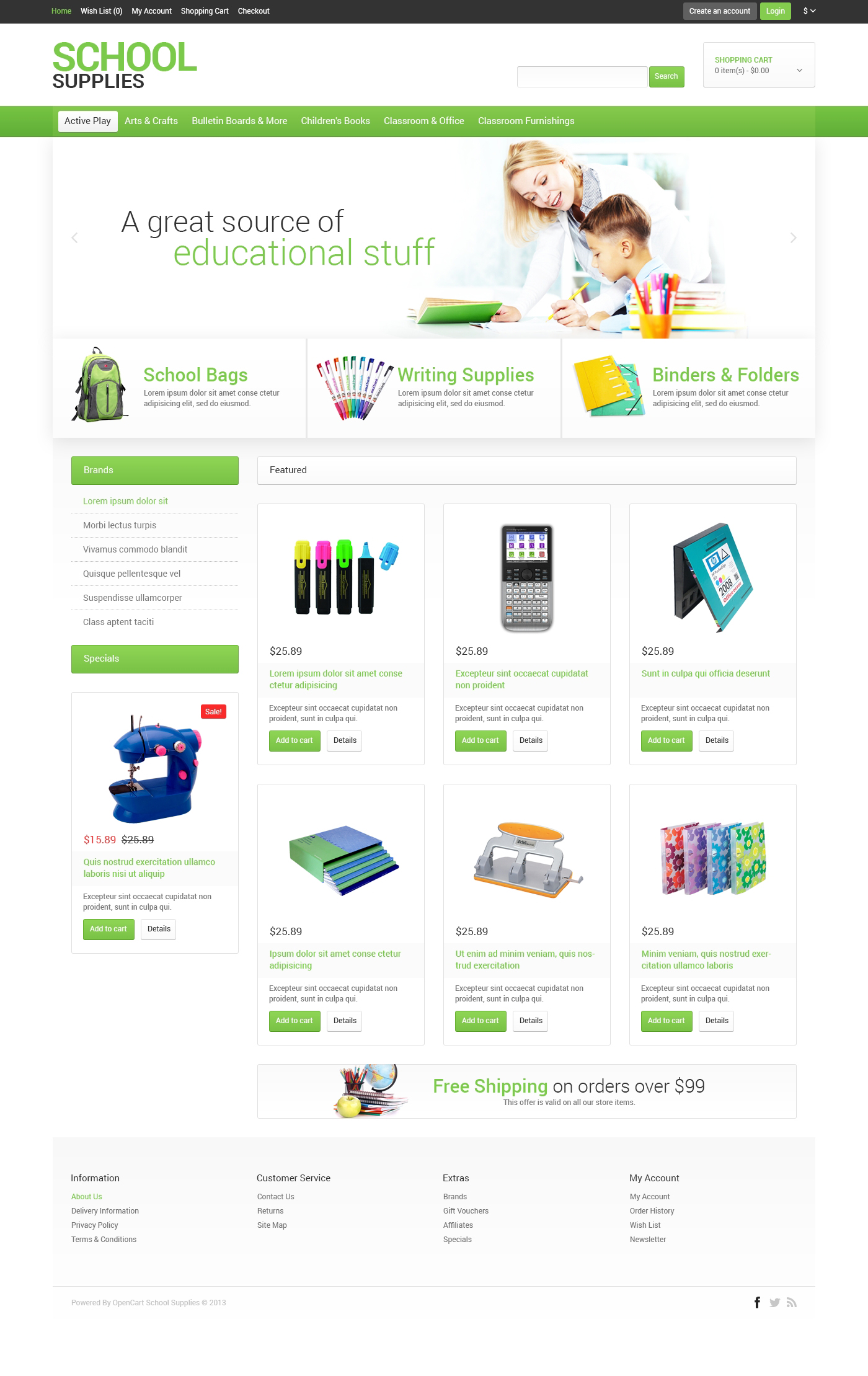 School Stationery OpenCart Template