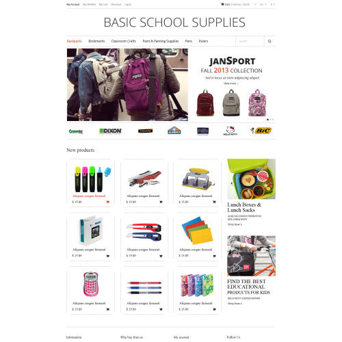 Basic School Supplies - Responsive Magento Template
