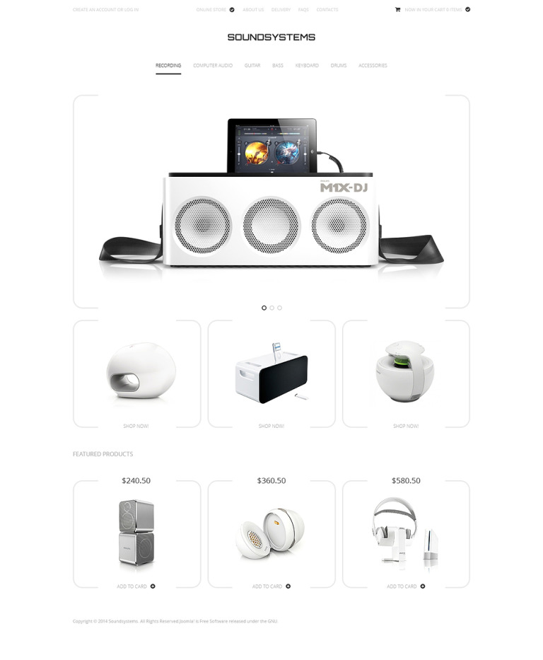Sound Systems VirtueMart Template New Screenshots BIG