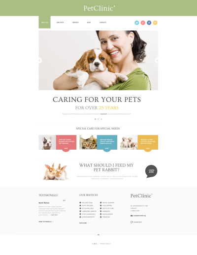 Thème WordPress adaptatif  pour site vétérinaire