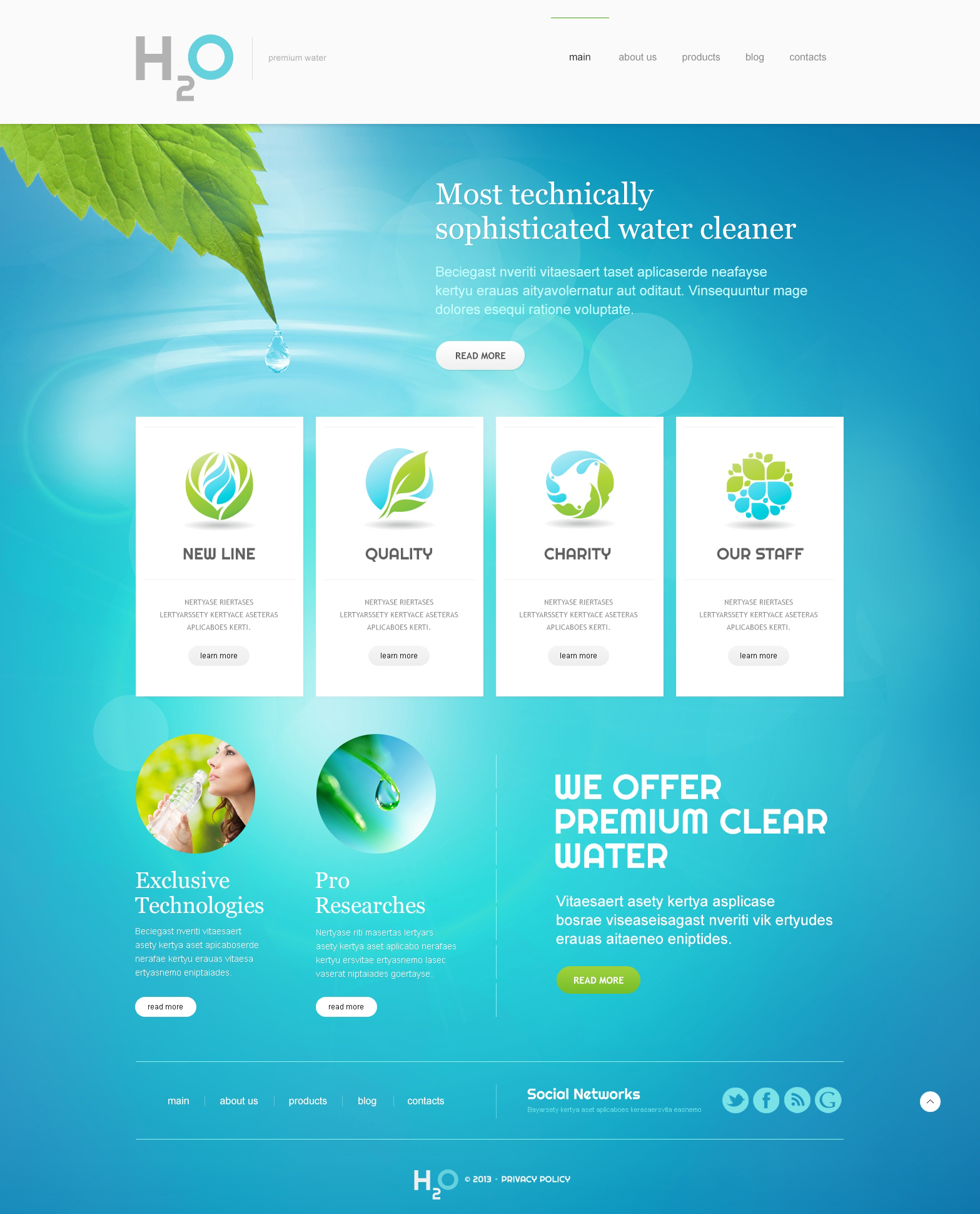 Water responsive joomla template 47491 for Jooma templates