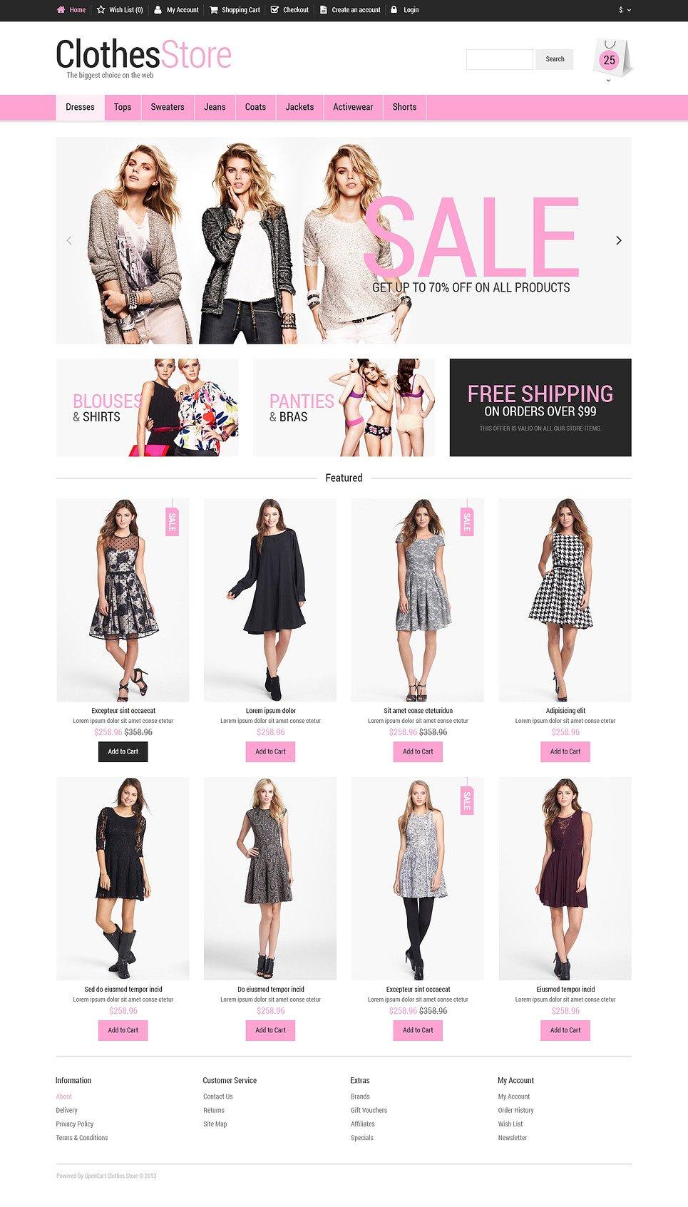 Woman Fashion OpenCart Template New Screenshots BIG