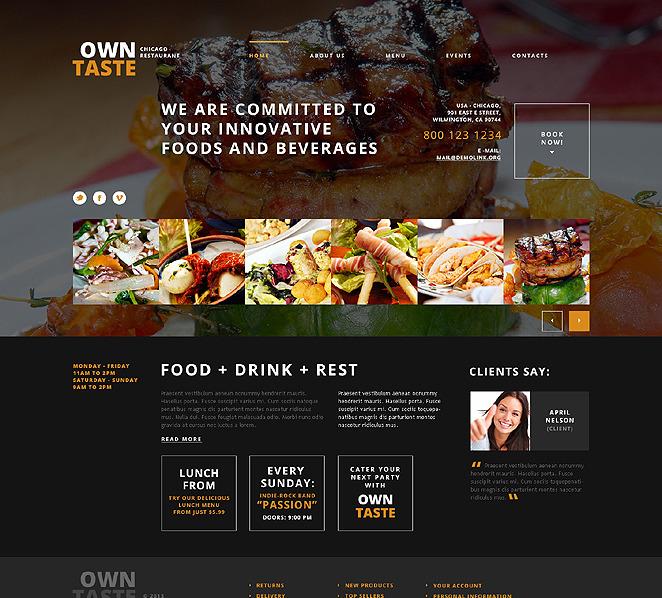 Reszponzív Kávézók és éttermek  WordPress sablon New Screenshots BIG