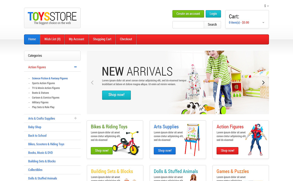 "OpenCart Vorlage namens ""Spielzeugladen"" New Screenshots BIG"