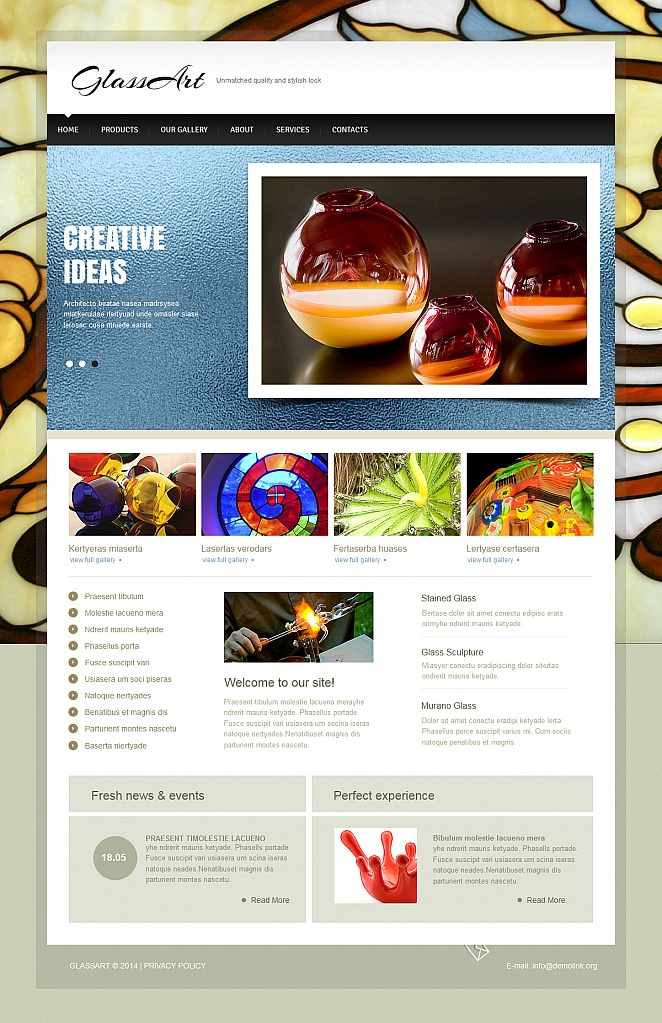 Glass Art Website Template with Photo Gallery - image