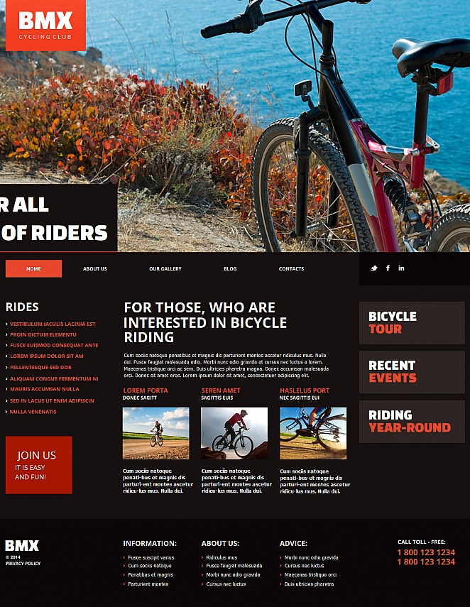 Bicycle Riding Website Template with Large Image Slider - image