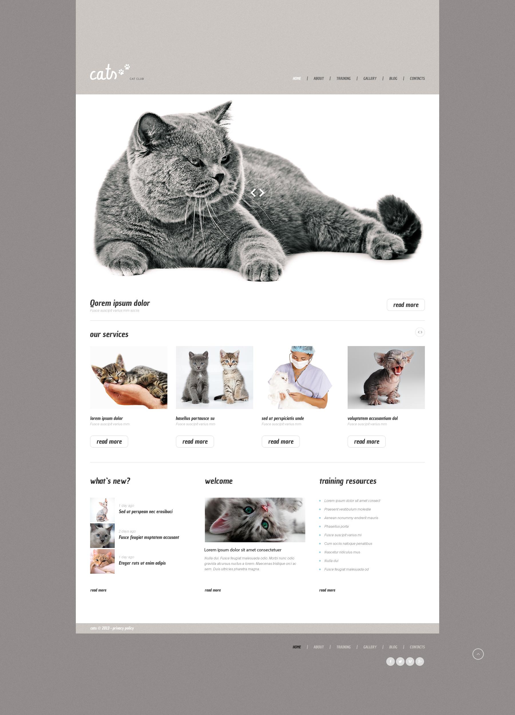 Адаптивний WordPress шаблон на тему коти №47538