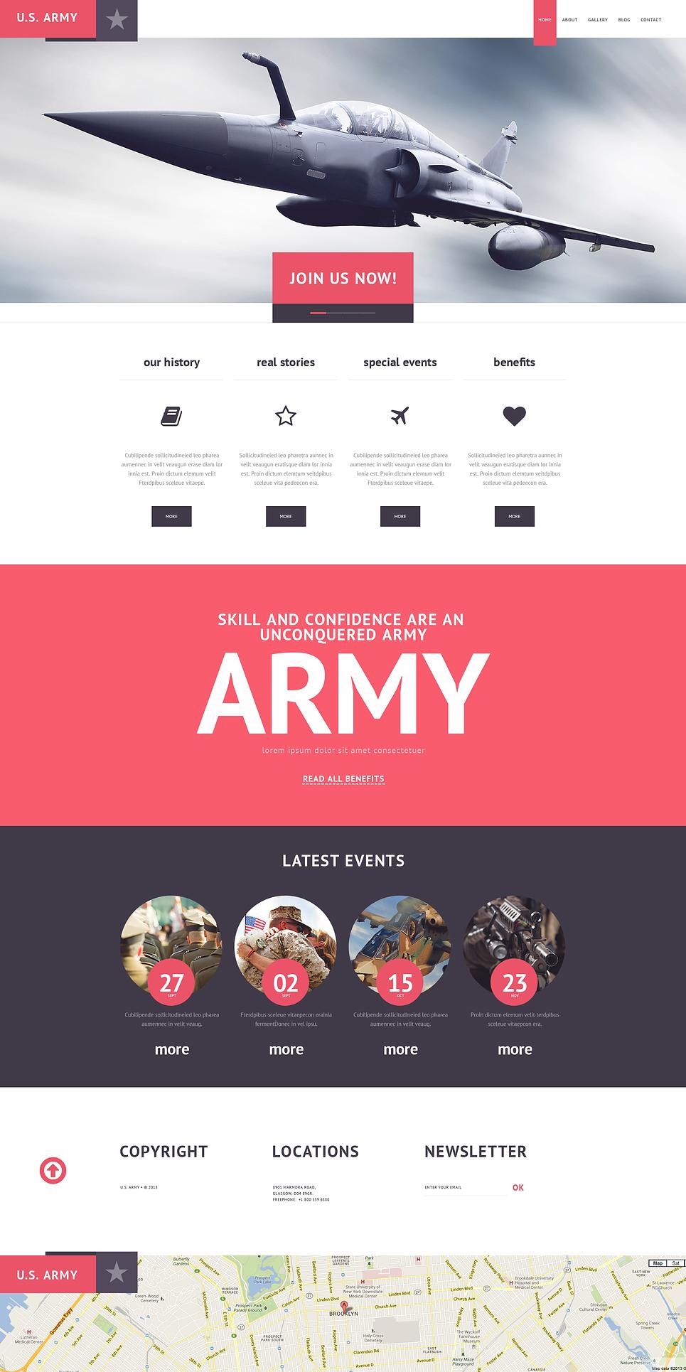 Адаптивный шаблон сайта на тему армия #47525