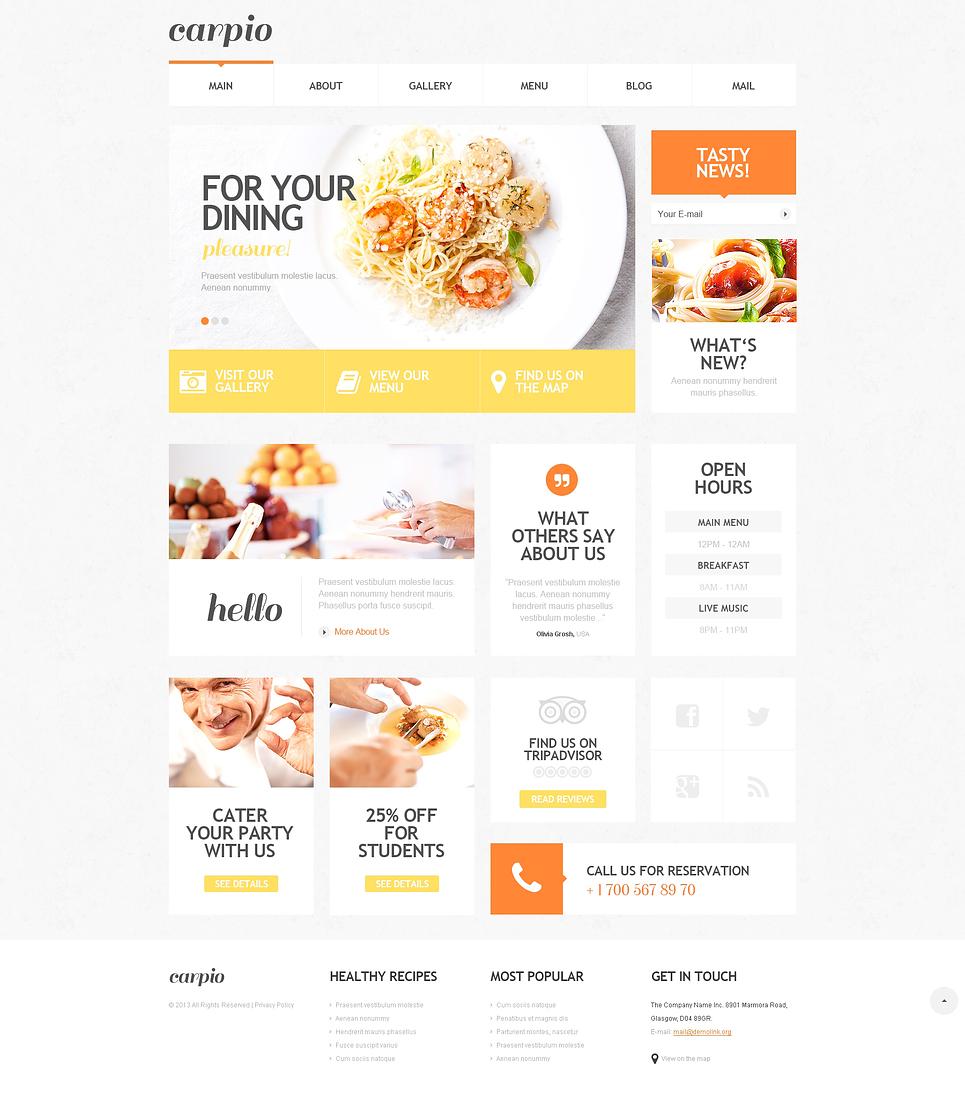 Адаптивный шаблон сайта на тему кафе и ресторан #47527