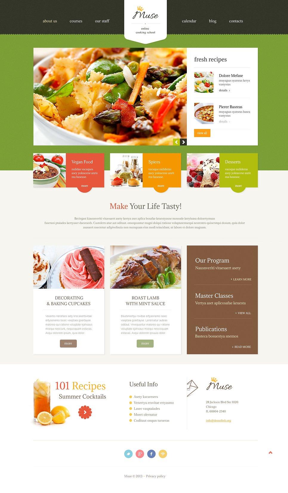 Адаптивный шаблон сайта на тему кулинария #47529