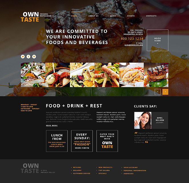 Адаптивный шаблон сайта на тему кафе и ресторан #47533