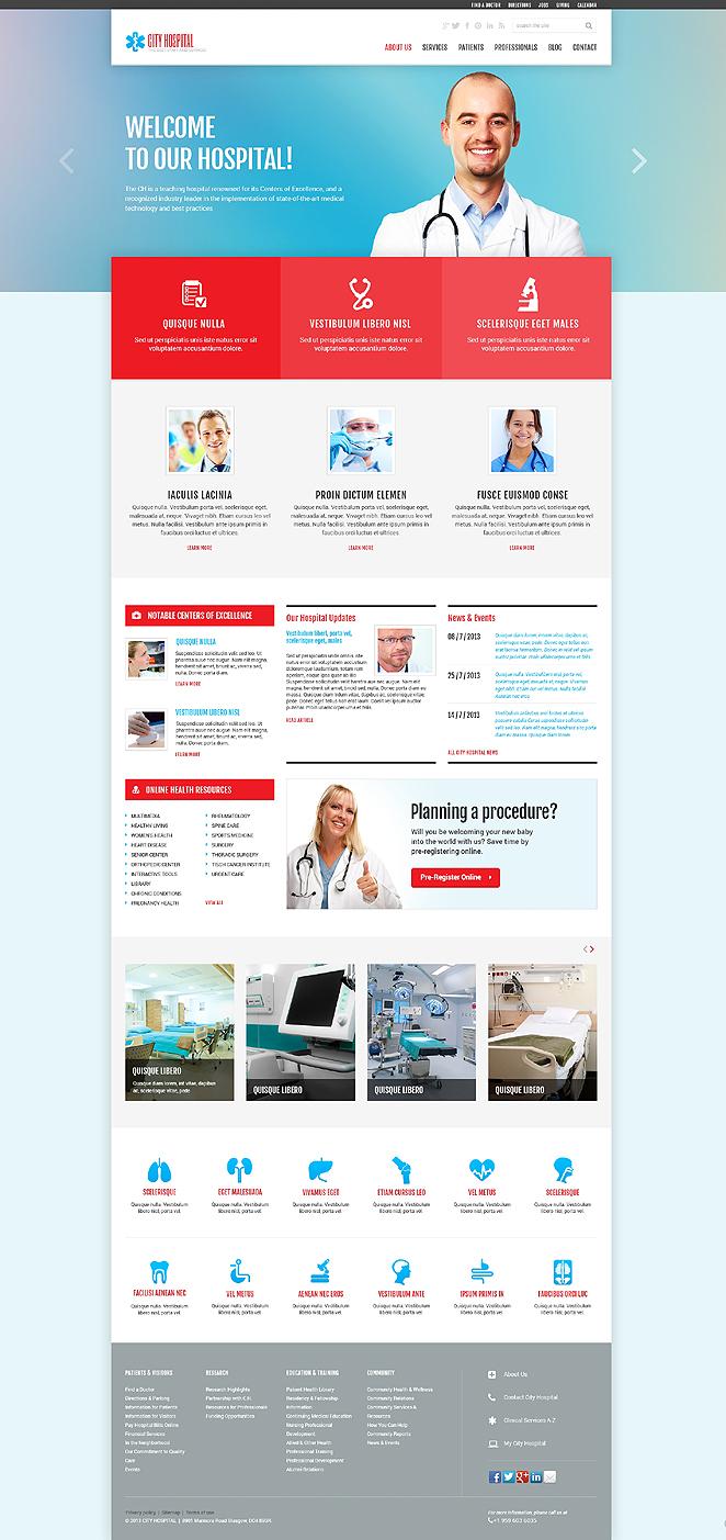 Адаптивный шаблон сайта на тему врач #47536