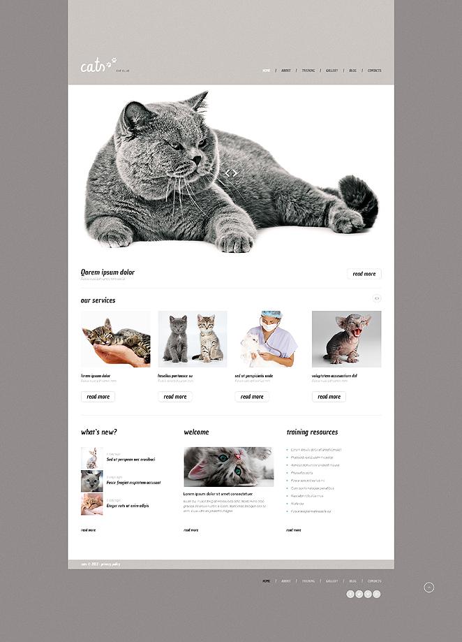 Адаптивный шаблон сайта на тему кошки #47538