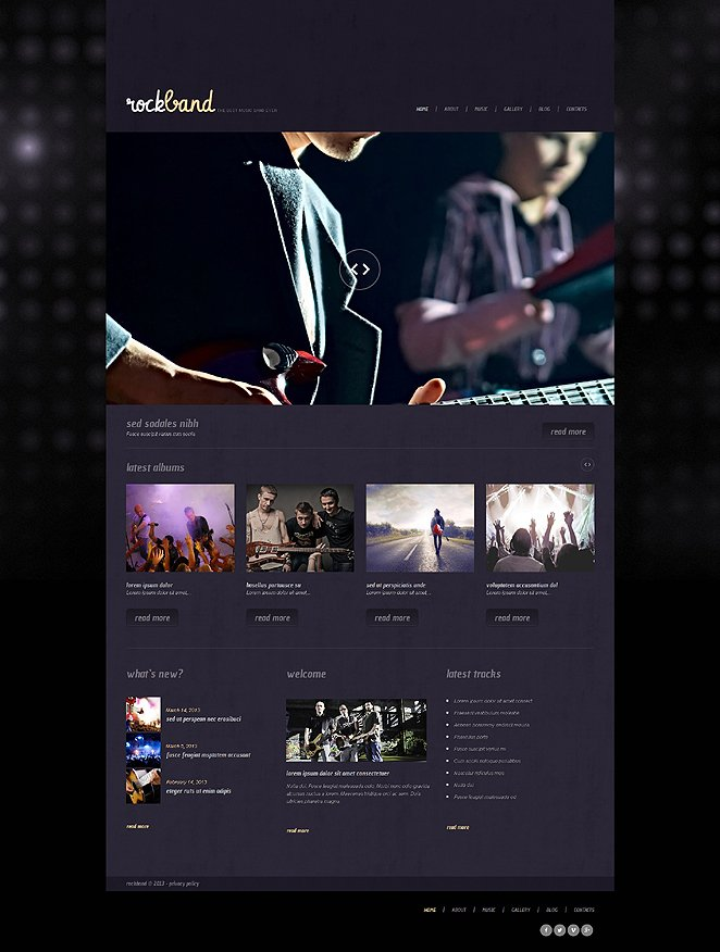 Адаптивный шаблон сайта на тему музыкальная группа #47539