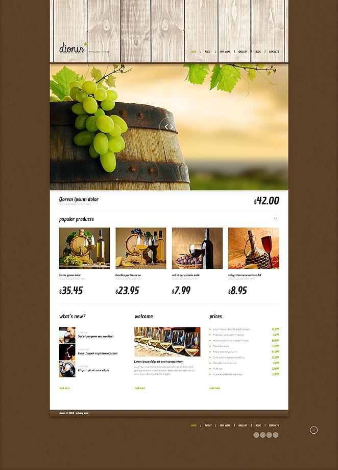 Адаптивный шаблон сайта на тему вино #47541