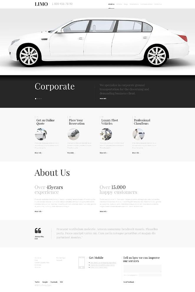 Адаптивный шаблон сайта на тему прокат лимузинов #47542
