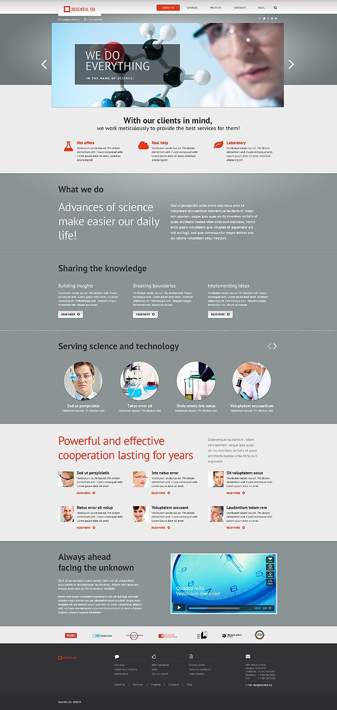 Адаптивный шаблон сайта на тему научная лаборатория #47543