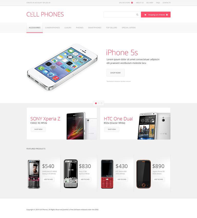 Cell Phones VirtueMart Template New Screenshots BIG