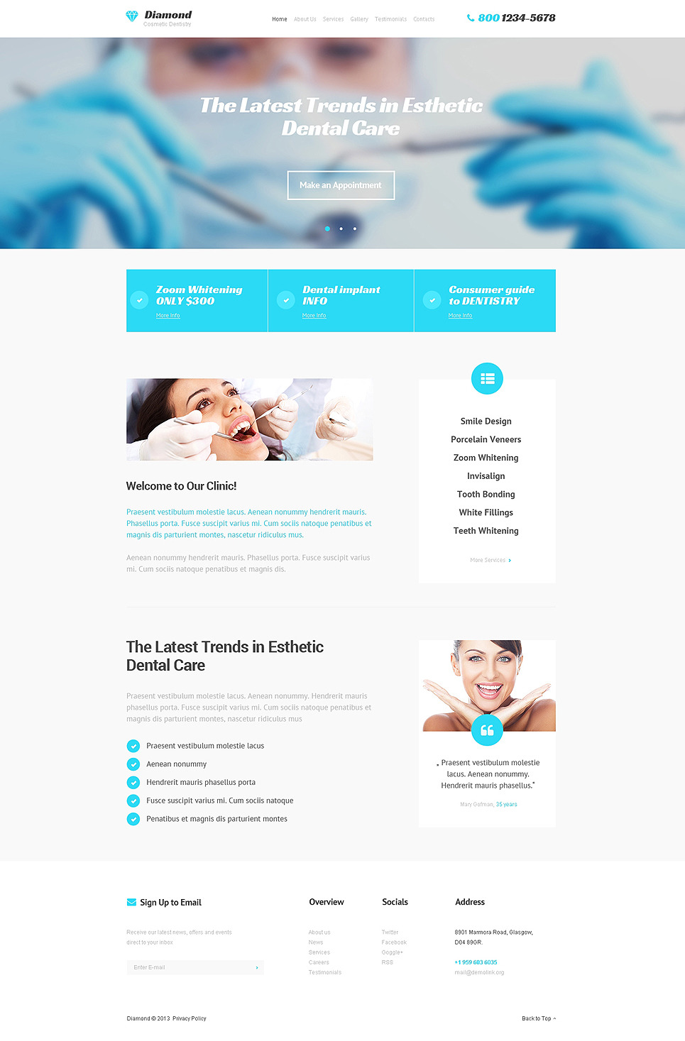 dentistry responsive website template  47523
