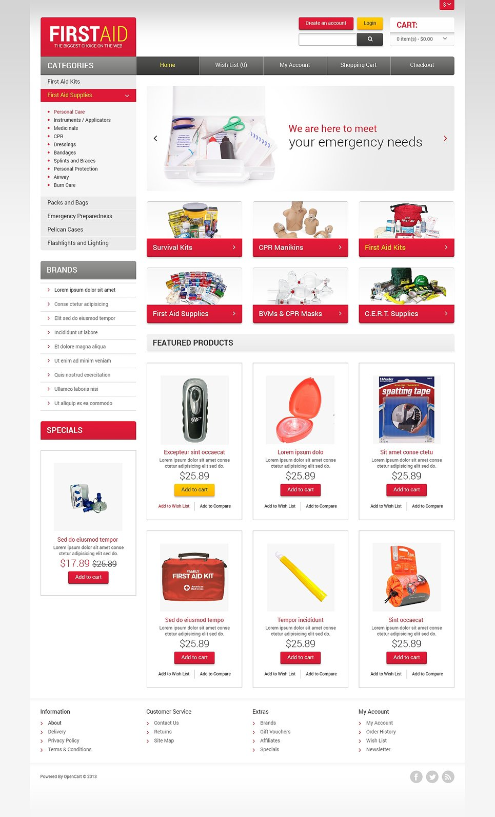 first aid store opencart template  47557