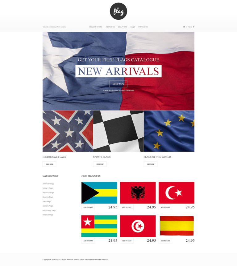 Flag Shop VirtueMart Template New Screenshots BIG