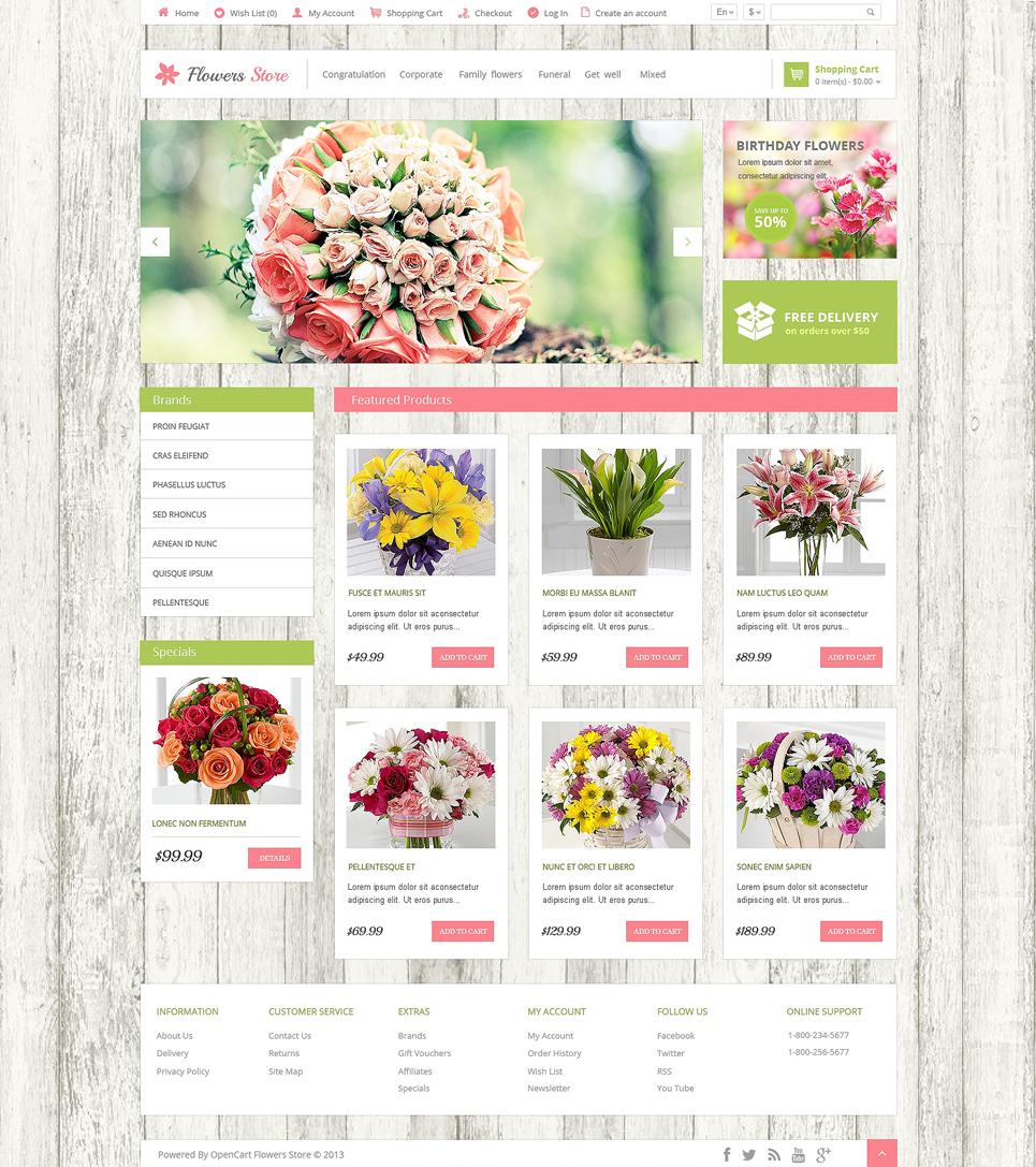 Flower Shop Responsive OpenCart Template 47588