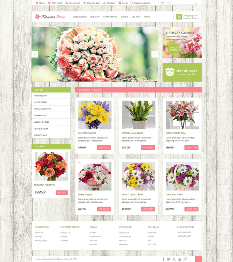 Flower Shop Responsive OpenCart Template New Screenshots BIG