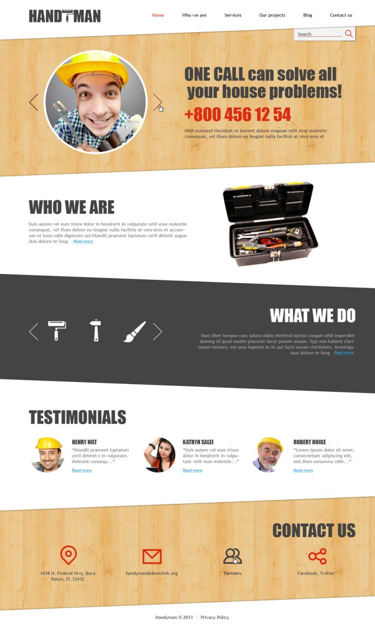 Home Repairs Responsive Joomla Template New Screenshots BIG